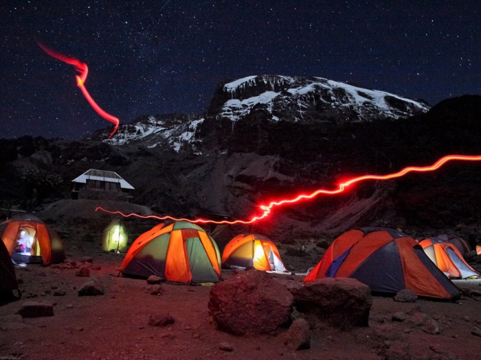 Mount Kilimanjaro at night